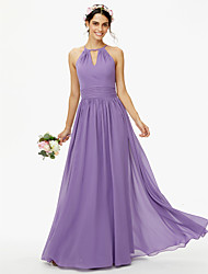 A-Line Jewel Neck Floor Length Chiffon Bridesmaid Dress with Buttons Sash / Ribbon Pleats by LAN TING BRIDE®