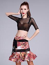 Latein-Tanz Austattungen Damen Eis-Seide Spitze 2 Stück Halbe Sleeve Normal Röcke Tops