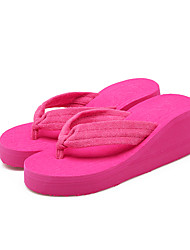 Women's Slippers & Flip-Flops Comfort Fabric Summer Casual Comfort Wedge Heel Ruby Black Flat