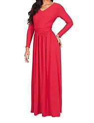 Ample Robe Femme Décontracté / Quotidien simple,Couleur Pleine Col en V Maxi Manches Longues Polyester Eté Taille Normale Non Elastique