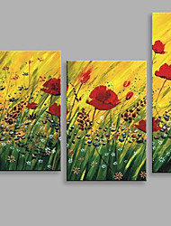 Abstract Oil Painting Some Red Flowers in The Wind Framed Handmade Oil Painting For Home Decoration