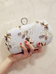 Women Evening Bag PU All Seasons Event/Party Party & Evening Club Baguette Flower Magnetic Silver Gold