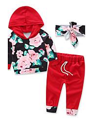 Para Meninas Conjuntos Fashion Esportes Floral Outono Algodão Pant Long Conjunto