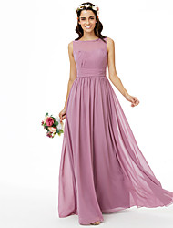 A-Line Jewel Neck Floor Length Chiffon Bridesmaid Dress with Sash / Ribbon Pleats Ruching by LAN TING BRIDE®