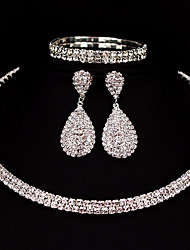 Two Row Jewelry Set Rhinestone Basic Classic DIY Alloy Square 1 Necklace 1 Pair of Earrings 1 Bracelet ForWedding Party Special Occasion