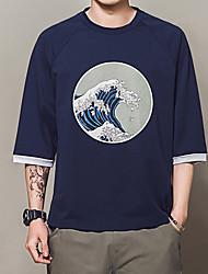 Herren Druck Chinoiserie Normal T-shirt,Rundhalsausschnitt Sommer 3/4 Ärmel Baumwolle Mittel