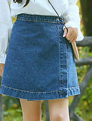 Women's Mini Skirts,Vintage Street chic A Line Pure Color Solid