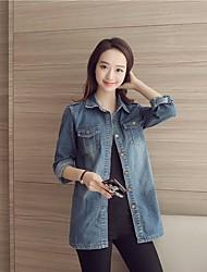 Veste en jean Femme,Couleur Pleine Sortie Décontracté / Quotidien simple Chic de Rue Printemps Manches longues Mao Long