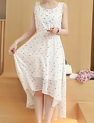 Women's Going out A Line Dress,Polka Dot Round Neck Midi Sleeveless Polyester Summer Low Rise Inelastic Thin