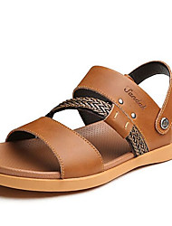 Men's Sandals Comfort Cowhide Nappa Leather Spring Casual Dark Grey Brown Yellow Flat