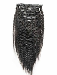 Kinky Straight Indian Remy Hair Clip In Human Hair Extensions Natural Color