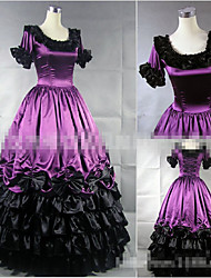 One-Piece/Dress Sweet Lolita Vintage Inspired Cosplay Lolita Dress Black Purple Solid Color Floor-length Skirt Dress For Modal