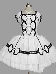 Uma-Peça/Vestidos Gótica Lolita Cosplay Vestidos Lolita Preto Branco Vintage Concha Manga Curta Short / Mini Vestido Para Outro