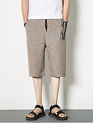 Men's Mid Rise strenchy Shorts Pants,Simple Wide Leg Solid