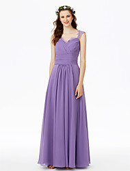 A-Line Queen Anne Floor Length Chiffon Lace Bridesmaid Dress with Bow(s) Lace Sashes / Ribbons Criss Cross Pleats Ruche by LAN TING BRIDE®