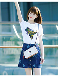 Damen Tierfell-Druck Einfach T-shirt,Rundhalsausschnitt Sommer Kurzarm Baumwolle