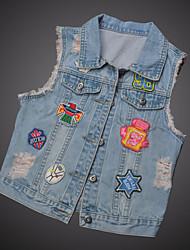 Women's Casual/Daily Simple Summer Denim Jacket,Print Shirt Collar Sleeveless Short Linen