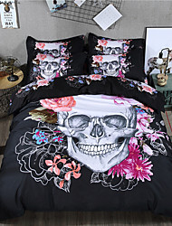 skeleton flowers style bedding set 3D polyester and cotton duvet cover set bed sheet linen cartoon king queen twin