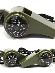 Fengtu 3 in 1 Compass/Life-saving Whistle/Thermometer Outdoor Essential Multi-functional Survival Whistle Carrying Lanyard
