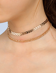 Metal Choker Necklace Set Personalized Alloy V-shaped Manual Short Necklace For Women Fish Bone Necklace Set