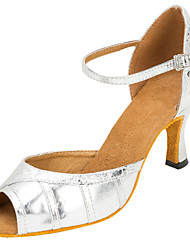 Heels Women's Latin/Ballroom Salsa Dance Shoes For Girls Leatherette Sandals Heels Professional Buckle Silver Customizable