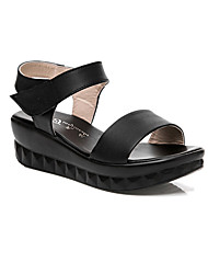 Women's Sandals Slingback Nappa Leather Summer Outdoor Casual Wedge Heel Ivory Blue Black 4in-4 3/4in