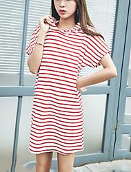 Ample Robe Femme Décontracté / Quotidien simple,Rayé Capuche Au dessus du genou Manches Courtes Coton Polyester Eté Taille Normale