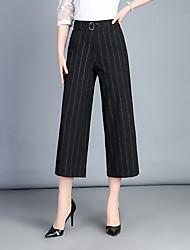 Feminino Simples Cintura Alta Micro-Elástica Chinos Calças,Perna larga Listrado,Listas Paetês