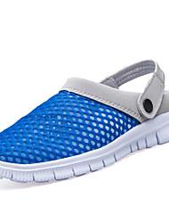 Men's Clogs & Mules Comfort PU Summer Outdoor Comfort Flat Heel Black Dark Blue Gray Brown Blue Under 1in