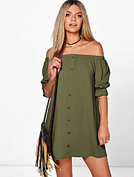 Women's Off Shoulder Beach Vintage Loose Dress,Solid Boat Neck Above Knee Short Sleeve Cotton Spring Summer Mid Rise Inelastic Thin