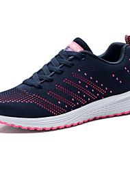 Femme Chaussures d'Athlétisme Confort Polyuréthane Printemps Automne Athlétique Marche Confort Lacet Talon PlatBlanc Bleu marine Rose