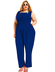HotS-5XL Plus Size Women's High Rise Work Going out Casual/Daily Holiday RompersSimple Vintage Sexy Street chic Loose Backless Cut Out Solid Summer