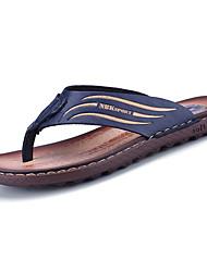 Men's Sandals Comfort PU Spring Summer Casual Comfort Low Heel Blue Dark Brown Under 1in