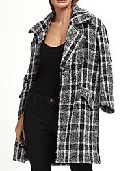 Для женщин На каждый день Весна Пальто Рубашечный воротник,Простой Геометрический принт Длинная Длинный рукав,Шерсть
