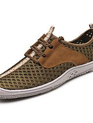Homme Chaussures d'Athlétisme Confort Tulle Printemps Automne Décontracté Marche Confort Lacet Talon Plat Gris Marron Bleu 5 à 7 cm