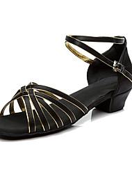 Women's Latin Silk Sneakers Performance Low Heel Black/Gold Customizable