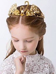 Girl's Crown Headband Gold 3D Swan Faux Pearl Alloy Princess Hair Accessory