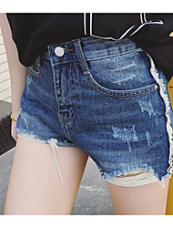 Women's High Waist Micro-elastic Jeans Shorts Pants,Sexy Relaxed Solid