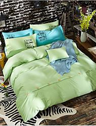 Solid Color 4 Piece Bed Sets 100% Cotton Simple Machine Made 1pc Duvet Cover(180*230cm) 2pcs Shams(48*74cm) 1pc Flat Sheet(160*210cm)