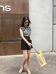 Mujer Empapa Boda Diario Verano Blazer Pantalón Trajes,Escote Redondo Un Color Sin Mangas