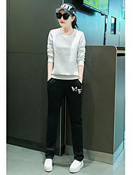 Mujer Simple Casual/Diario Primavera Otoño Sudadera Pantalón Trajes,Escote Redondo Un Color Patrón Manga Larga