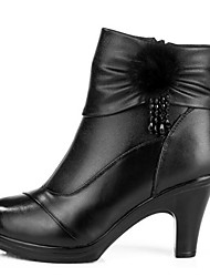 Women's Boots Comfort Cowhide Winter Casual Comfort Black 1in-1 3/4in