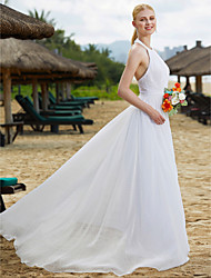 LAN TING BRIDE A-line Wedding Dress Open Back Floor-length Halter Lace Tulle with Draped Lace