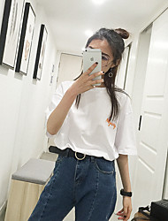 Damen Geometrisch Einfach T-shirt,Rundhalsausschnitt Kurzarm Baumwolle