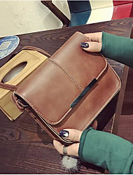 Women Shoulder Bag PU All Seasons Casual Outdoor Round Button Khaki Brown Green