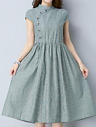 Для женщин На каждый день Офис Большие размеры Простое Очаровательный Шинуазери (китайский стиль) Прямое Платье Полоски,Вырез под горло