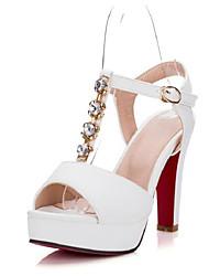 Femme Chaussures à Talons Confort Polyuréthane Eté Décontracté Confort Blanc Noir Rose 10 à 12 cm