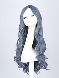 Hot Selling Bule Color Long Wave Women Wig Heat Resisting Cospaly Syntheitc Wig