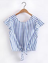 Damen Gestreift Einfach Alltag Normal T-shirt,V-Ausschnitt Kurzarm Polyester
