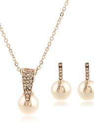 1Set  Women's Jewelry Set Stud Earrings Pendant Necklaces Imitation Pearl Euramerican Fashion Multi-ways WearImitation Pearl Rhinestone Mixed